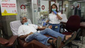 تبرع أوريل ماور بتاريخ 13/7/2020 في مركز خدمات الدم MDA في تل هشومير