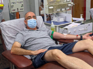 Udi Burg, Member of the Board of the Blood Donors Association - Donated on the eve of Yom Kippur, 27/9/2020 at the MDA Blood Services Center in Tel Hashomer