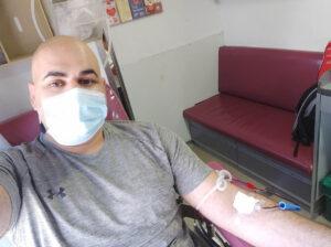 אבישי קשני תרם דם ב-30/7/2021 בתחנה המרכזית בבאר שבע ומשתדל לתרום כל 3 חודשים