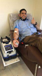 נחמיה רובין, חבר הנהלת ארגון תורמי דם, תרם דם בירושלים ב- 03/09/2021.