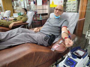 """דרור בן יהודה תרם דם במרכז שירותי הדם של מד""""א בתה""""ש בתאריך 01/10/2021"""